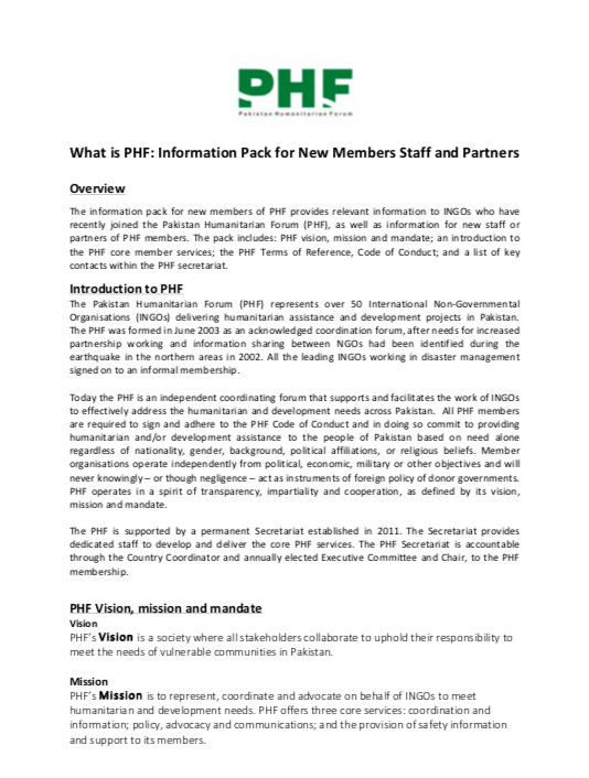 What is PHF: Information Pack for New Members Staff and Partners