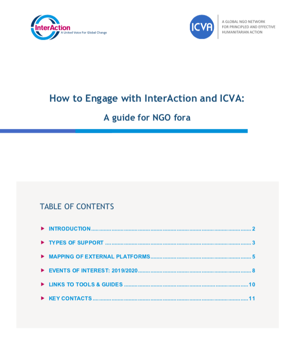 How to Engage with InterAction and ICVA: A Guide for NGO fora