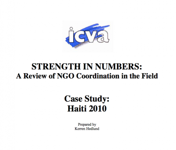 Strength in Numbers: A Review of NGO Coordination in the Field, Case Study: Haiti 2010