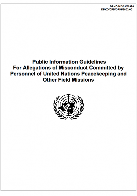 Public Information Guidelines For Allegations of Misconduct Committed by Personnel of United Nations Peacekeeping and Other Field Missions