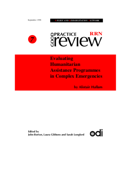 Evaluating Humanitarian Assistance Programmes in Complex Emergencies