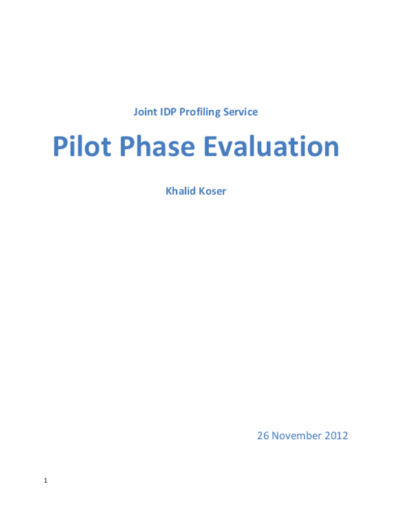 Joint IDP Profiling Service Pilot Phase Evaluation
