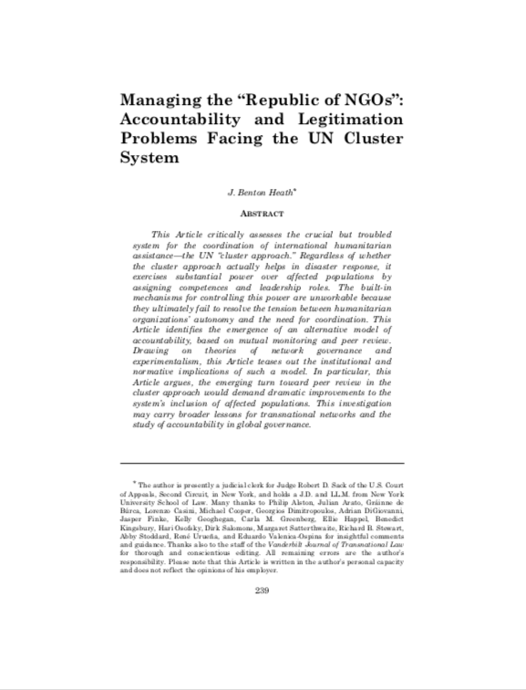"Managing the ""Republic of NGOs"": accountability and legitimation problems facing the UN cluster system"