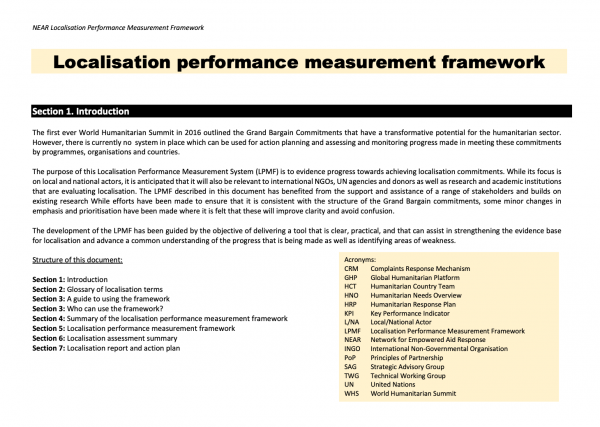 NEAR Localisation Performance Measurement Framework