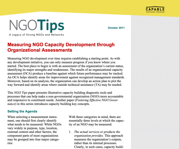 NGO Tips - Measuring NGO Capacity Development through Organizational Assessments