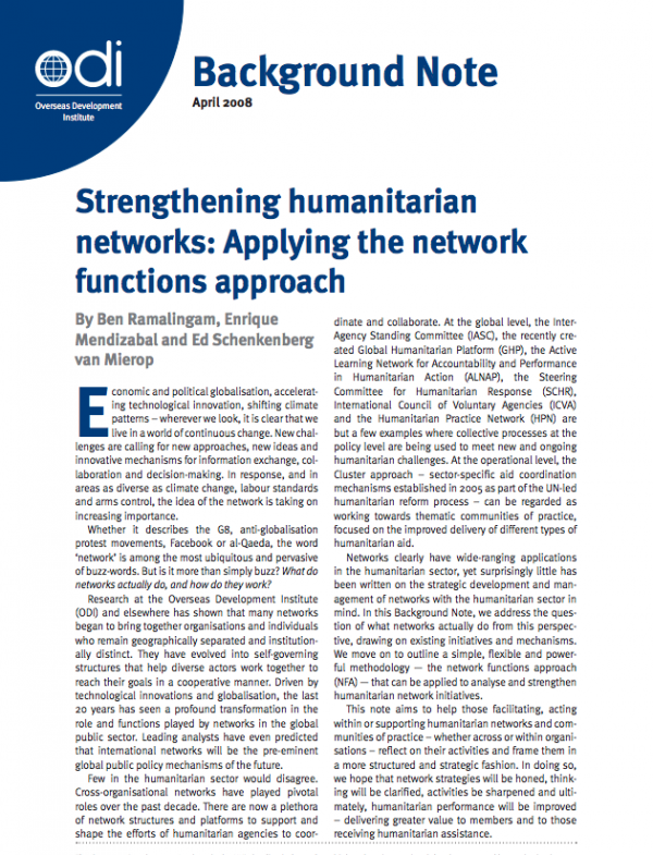 Strengthening Humanitarian Networks: Applying the Network Functions Approach