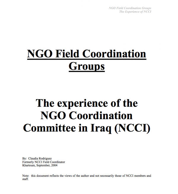 NGO Field Coordination Groups - The experience of the NGO Coordination Committee in Iraq (NCCI)