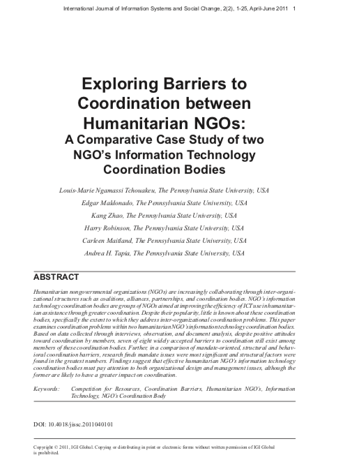 Exploring Barriers to Coordination between Humanitarian NGOs: A Comparative Case Study of two NGO Information Technology Coordination Bodies