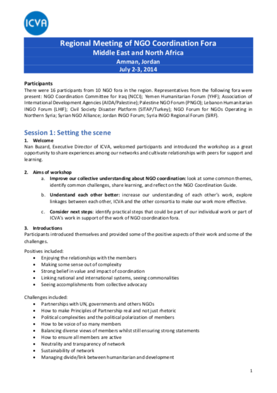 MENA NGO fora meeting July 2-3 2014 - ICVA summary notes